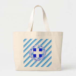 Greek stripes flag large tote bag