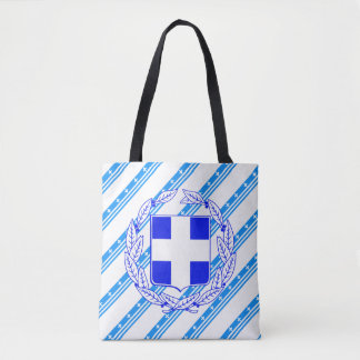 Greek stripes flag tote bag