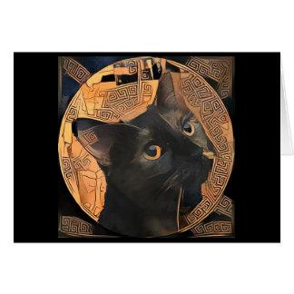 Greek-Style Cat Greeting Card Blank Inside