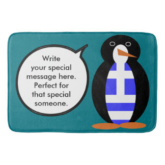 Greek Talking Penguin Flag Bath Mat