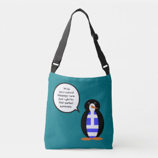 Greek Talking Penguin Flag Crossbody Bag