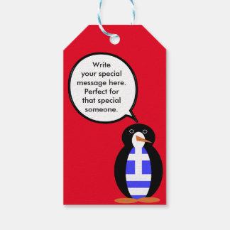 Greek Talking Penguin Flag Pack Of Gift Tags