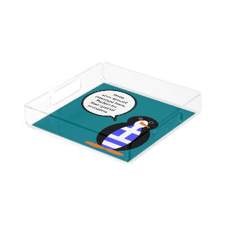 Greek Talking Penguin Flag Perfume Tray