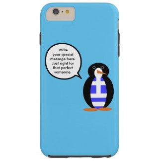 Greek Talking Penguin Flag Tough iPhone 6 Plus Case