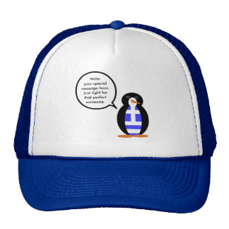 Greek Talking Penguin Flag Trucker Hat