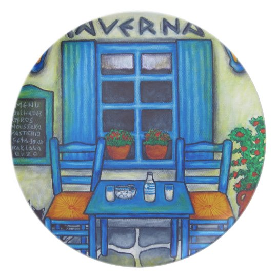 Greek Taverna Plate by Lisa Lorenz