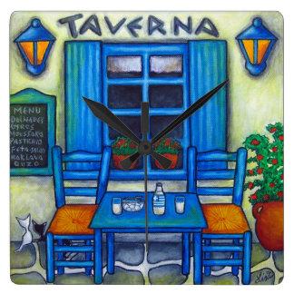 Greek Taverna Square Wall Clock, Lisa Lorenz Square Wall Clock
