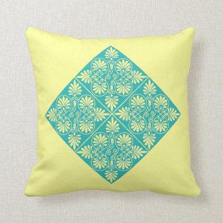 Greek Teal Yellow Spring Greco-Roman Design Throw Pillow