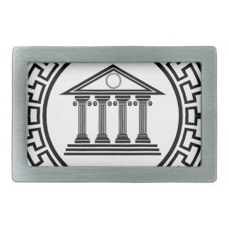 Greek temple belt buckle
