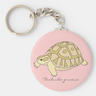 Greek Tortoise Keychain (brown w. pink)