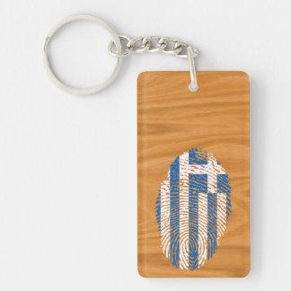Greek touch fingerprint flag Double-Sided rectangular acrylic keychain