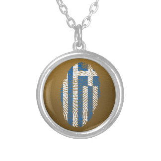 Greek touch fingerprint flag silver plated necklace