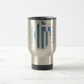 Greek touch fingerprint flag travel mug