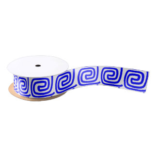 Greek Traditional Blue White Repeat MeanderPattern Satin Ribbon
