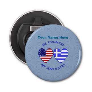 Greek USA Country Ancestry Button Bottle Opener