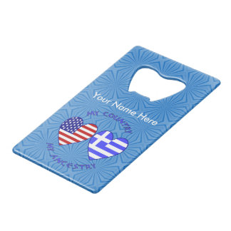 Greek USA Country Ancestry Wallet Bottle Opener