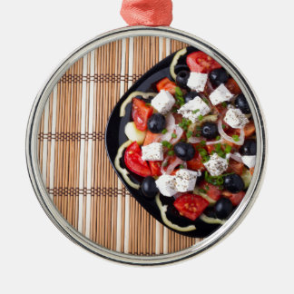 Greek vegetarian salad of tomatoes, cucumbers, oni Silver-Colored round ornament