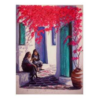 'Greek Village Gossips' (large) Poster