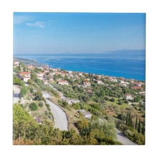 Greek village near sea in Kefalonia Tile