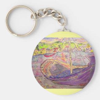 greek  village sunset basic round button keychain