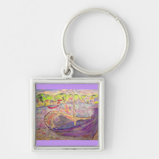 greek  village sunset Silver-Colored square keychain