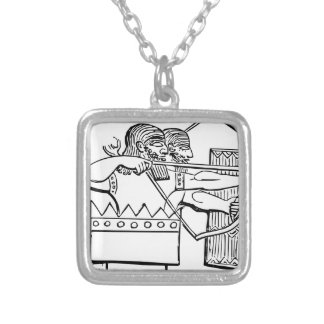 Greek Warrior Art Silver Plated Necklace