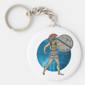 Greek Warrior Basic Round Button Keychain