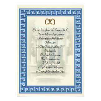 Greek wedding Invitation Blue Key elegant