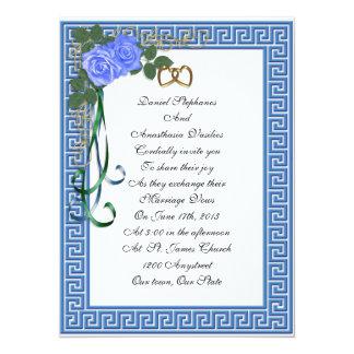 Greek wedding Invitation Blue roses