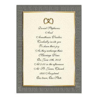 Greek wedding Invitation elegant key design