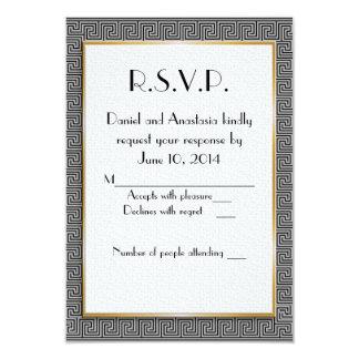 """Greek wedding RSVP card 3.5"""" X 5"""" Invitation Card"""