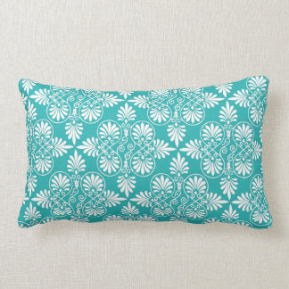 Greek White Teal Pattern Ancient Decorative Accent Lumbar Pillow