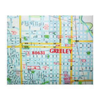 GREELEY, CO Vintage Map Canvas Print
