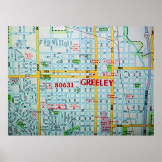 Greeley, CO Vintage Map Poster
