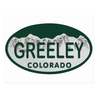 Greeley license oval postcard