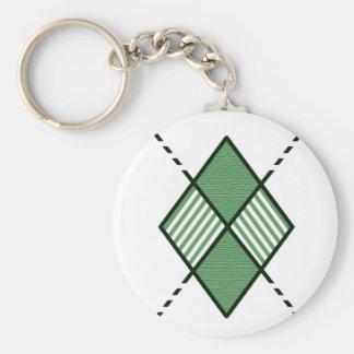 Green-08 Argyle Design Basic Round Button Keychain