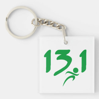 Green 13.1 half-marathon acrylic key chains