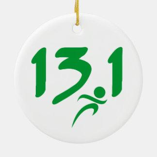 Green 13.1 half-marathon round ceramic ornament