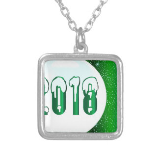 Green 2018 New Year Silver Plated Necklace