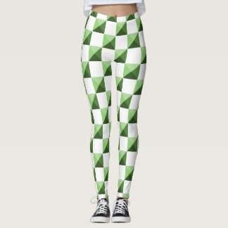 Green 3D Illusion Checkered Pattern Leggings