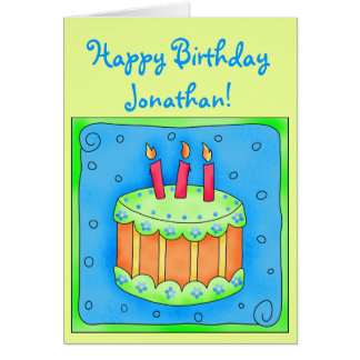 Green 3rd Birthday Card with Cake