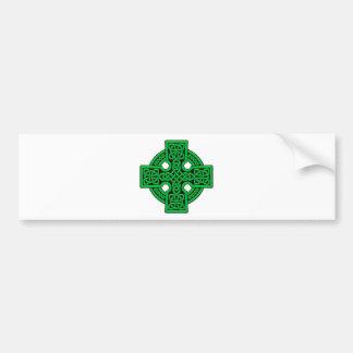 Green 4 way Celtic Cross Bumper Sticker
