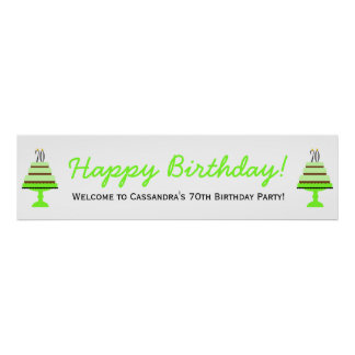Green 70th Birthday Cake Party Banner Poster