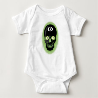 Green 8 Ball Pool Skull Baby Bodysuit