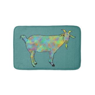 Green Abstract Art Goat Colourful Animal Design Bath Mat