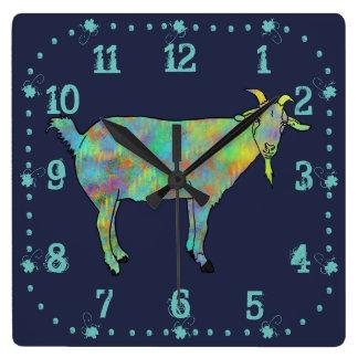 Green Abstract Art Goat Colourful Animal Design Wallclocks