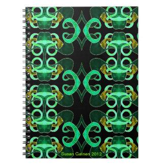 Green Abstract Fleur-de-lis Notebook