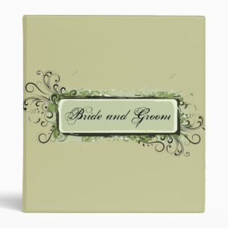 Green Abstract Floral Wedding Binder