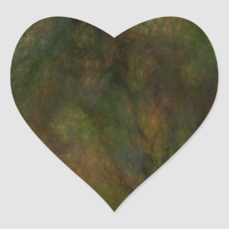 Green Abstract Fractal Heart Sticker
