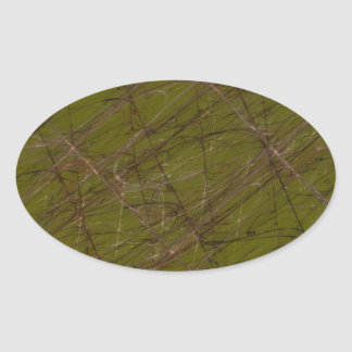 Green Abstract Fractal Oval Sticker